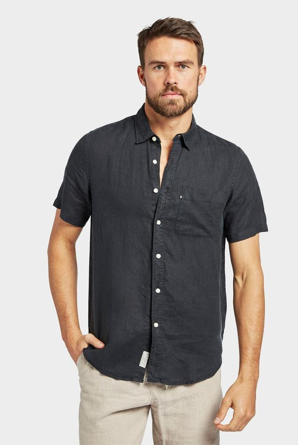 Hampton S/S Linen Shirt Black-Shirts-The Academy Brand-UPTOWN LOCAL