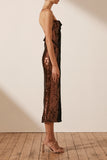Zaida Bias Cowl Midi Dress - Clay Sequin-Dresses-Shona Joy-6-UPTOWN LOCAL