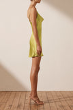 Gala Bias Mini Slip Dress - Lime-Dresses-Shona Joy-6-UPTOWN LOCAL