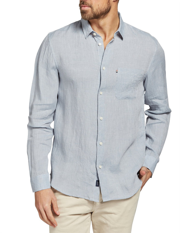 Newport Linen Shirt Dove-Shirts-The Academy Brand-UPTOWN LOCAL