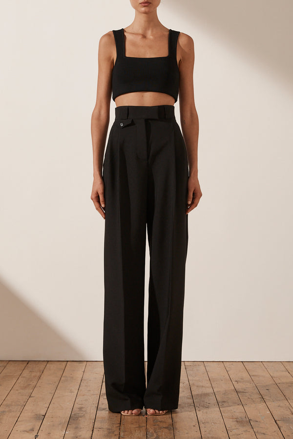 Ivy High Waisted Tailored Pant Black-Pants-Shona Joy-6-UPTOWN LOCAL