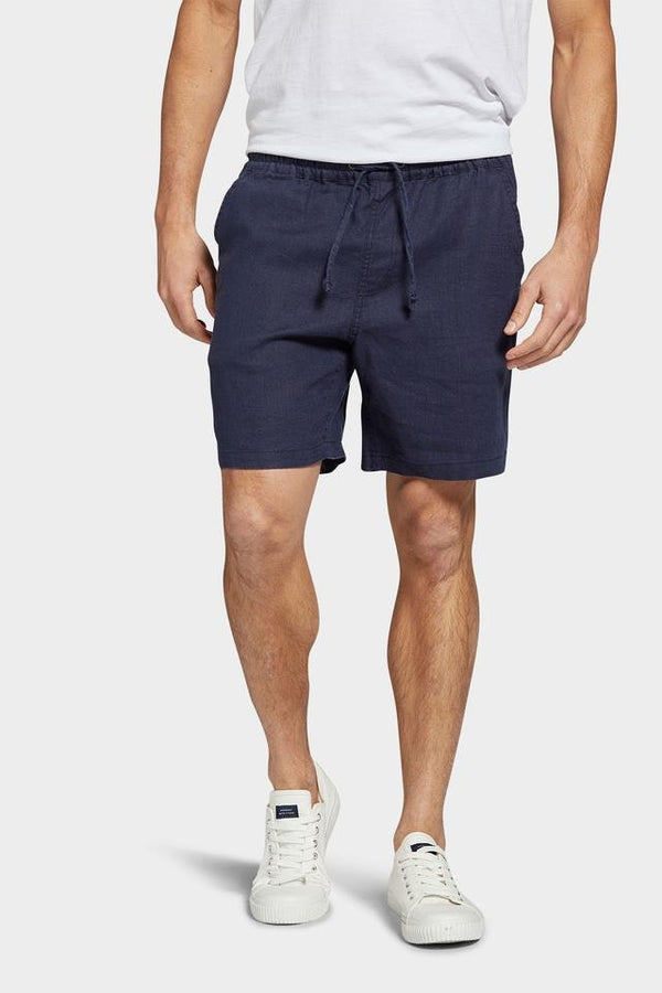 Riviera Linen Short Navy-Shorts-The Academy Brand-UPTOWN LOCAL