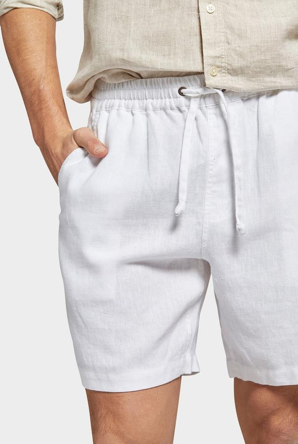 Riviera Linen Short White-Shorts-The Academy Brand-UPTOWN LOCAL