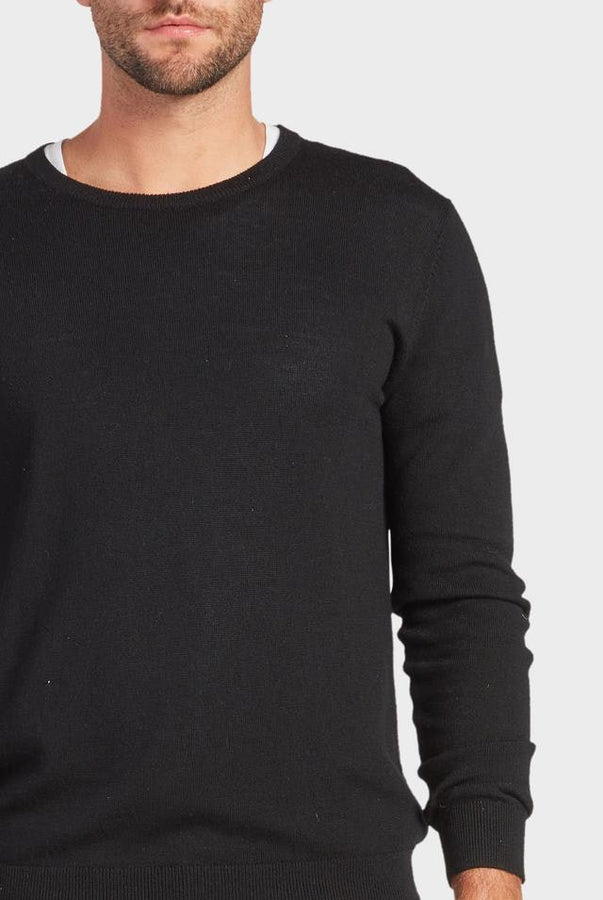 Academy Merino Crew Black-Jumpers-The Academy Brand-S-UPTOWN LOCAL