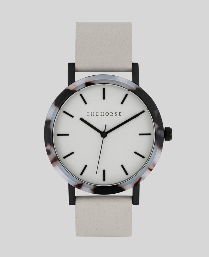 Resin Blonde Tortoiseshell / Soft Grey DIal / Grey Leather-Watch-The Horse-UPTOWN LOCAL