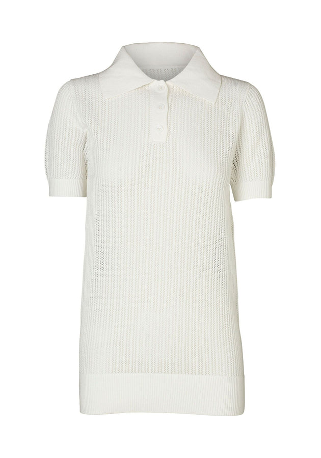 Double Polo Knit White-Tops-Viktoria and Woods-UPTOWN LOCAL