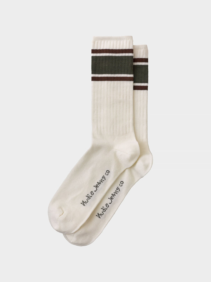 Amundsson Sport Socks - Off White / Olive-Socks-Nudie Jeans-UPTOWN LOCAL