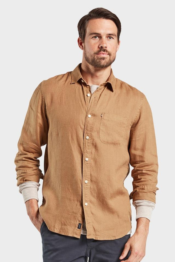 Hampton Linen Shirt - Almond-Shirts-The Academy Brand-S-UPTOWN LOCAL