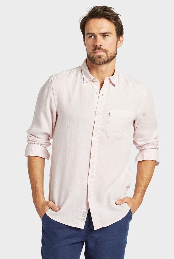 Hampton Linen Shirt Musk-Shirts-The Academy Brand-UPTOWN LOCAL
