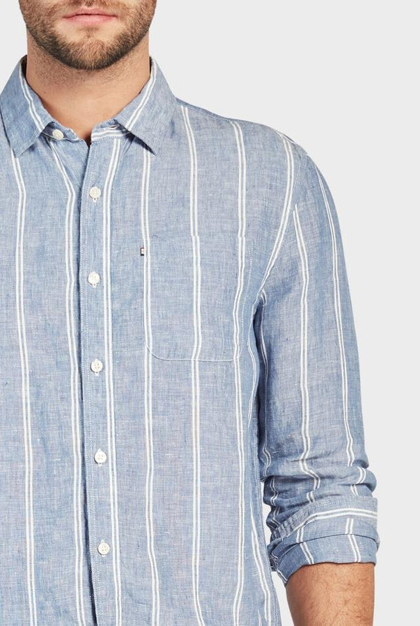Hampton Linen Shirt - Navy Stripe-Shirts-The Academy Brand-S-UPTOWN LOCAL