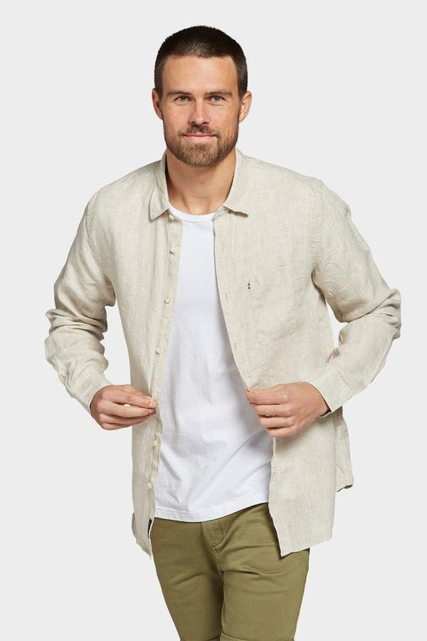 Hampton Linen Shirt Oatmeal-Shirts-The Academy Brand-UPTOWN LOCAL