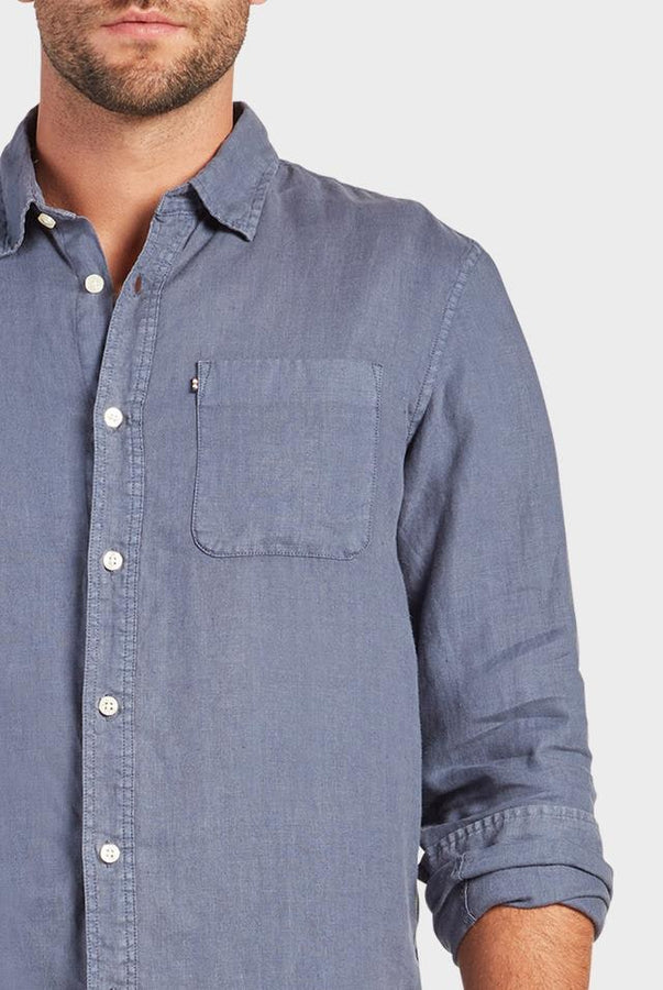 Hampton L/S Linen Shirt Pilot Blue-Shirts-The Academy Brand-S-UPTOWN LOCAL