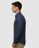BFC1633 Career Motif Print Shirt - Navy-Shirts-Brooksfield-38-UPTOWN LOCAL