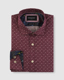 BFC1653 Luxe Floral Motif Print Shirt - Wine-Shirts-Brooksfield-38-UPTOWN LOCAL