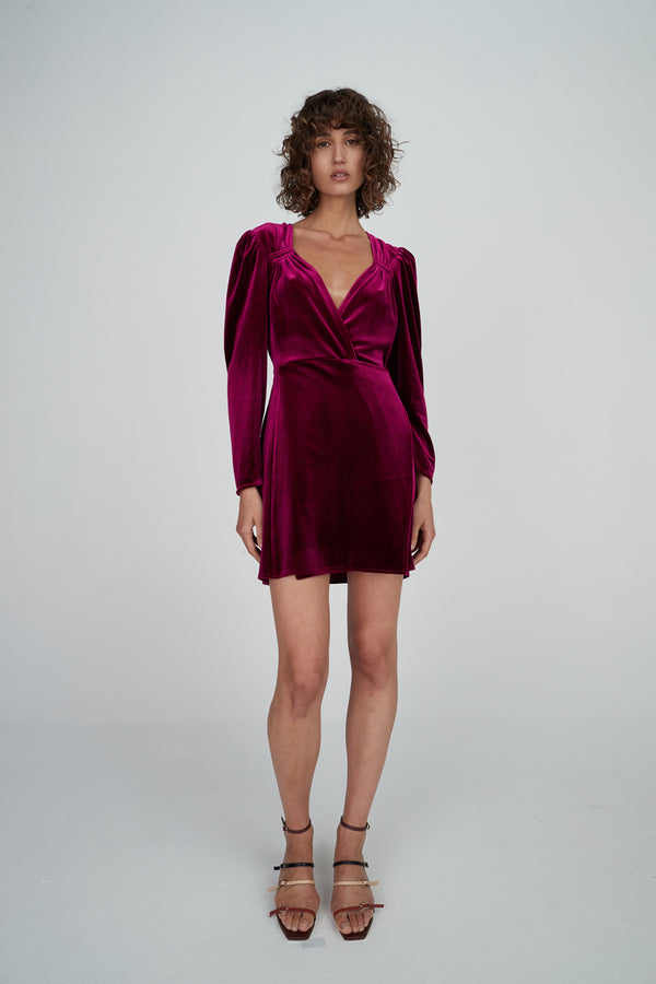 Celia Velvet Dress - Boysenberry-Dresses-Hansen and Gretel-XS-UPTOWN LOCAL
