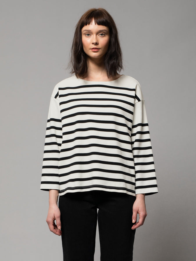 Charlotte Breton Stripe - Off White / Black-Tops-Nudie Jeans-XS-UPTOWN LOCAL