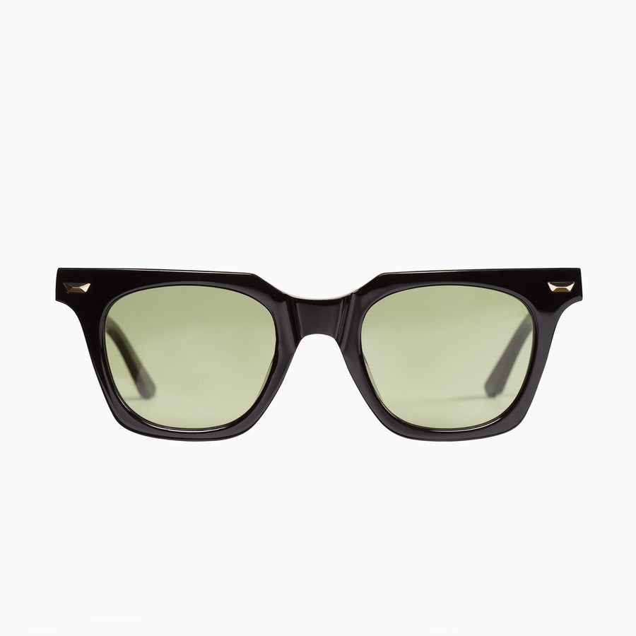 Dylan Kain - Gloss Black w. 24k. Gold Metal Trim / Olive Green Lens-Sunglasses-Valley-UPTOWN LOCAL