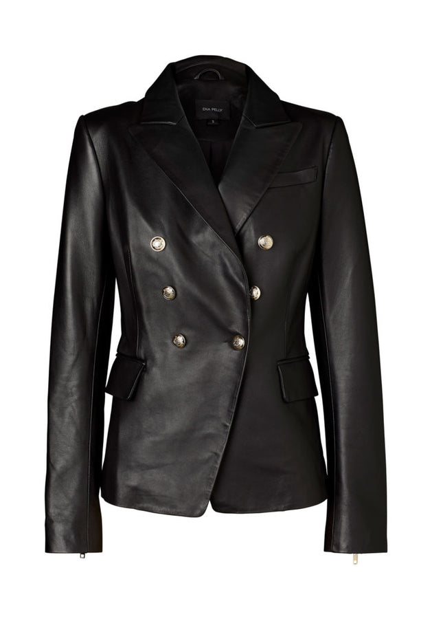 Leather Blazer - Black Nappa / Light Gold