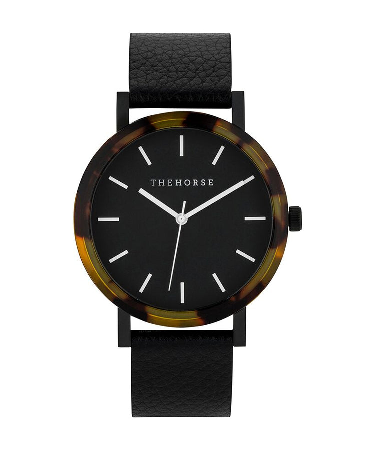 Resin Brown Tortoiseshell / Black Dial / Black Leather-Watch-The Horse-UPTOWN LOCAL