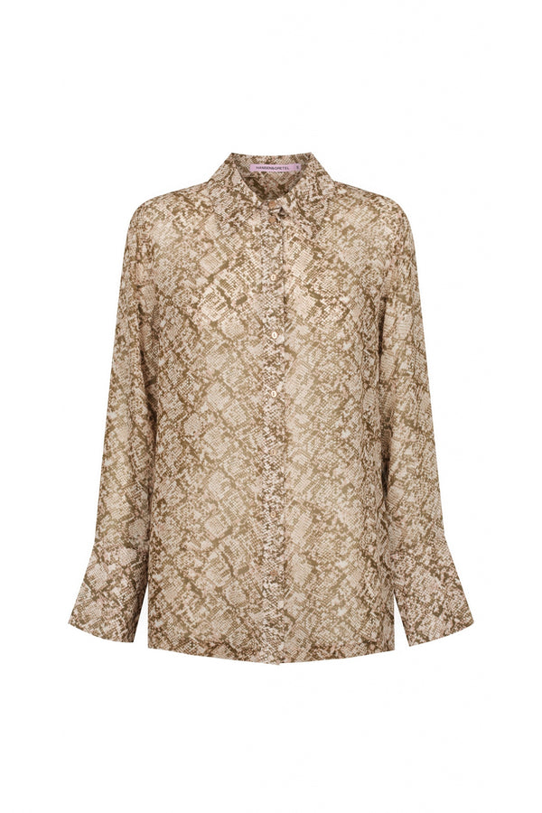 Jules Silk Shirt - Python-Shirts-Hansen and Gretel-XS-UPTOWN LOCAL