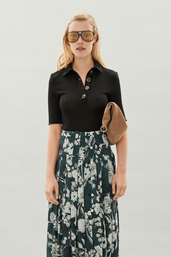 Logan Polo Top Black-Tops-Hansen and Gretel-UPTOWN LOCAL
