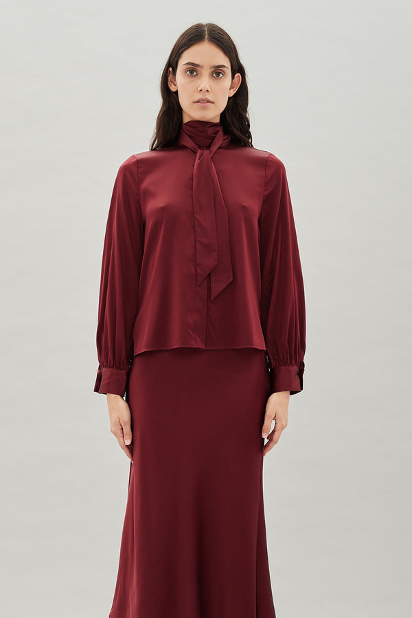 Denver Silk Shirt Wine-Tops-Hansen and Gretel-UPTOWN LOCAL