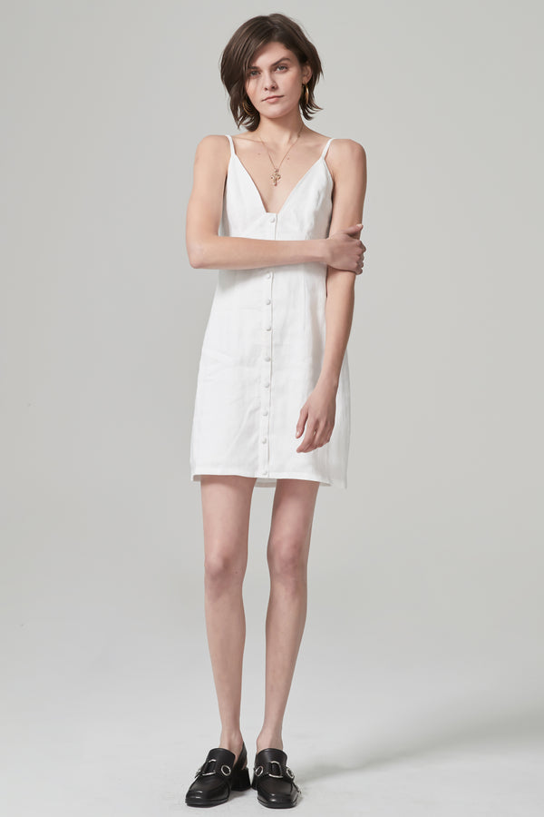 Jourdan Linen Dress White-Dresses-Hansen and Gretel-UPTOWN LOCAL