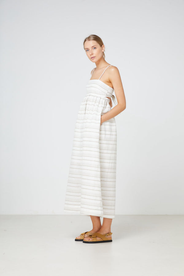 Tuscany Maxi Dress Natural Stripe-Dresses-Elka Collective-6-UPTOWN LOCAL