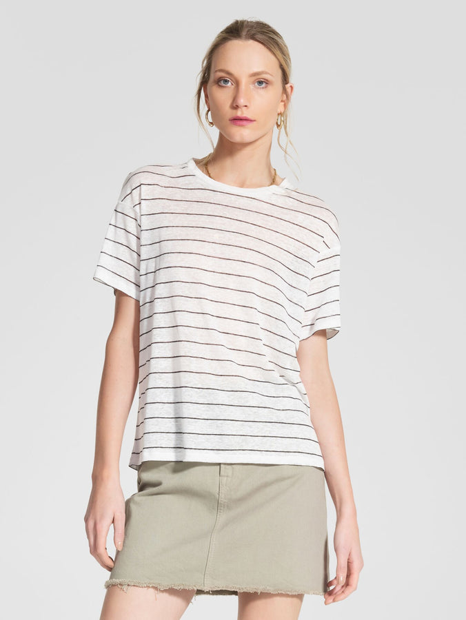 Linen Classic Tee Shell Stripe-Tops-Nobody Denim-UPTOWN LOCAL