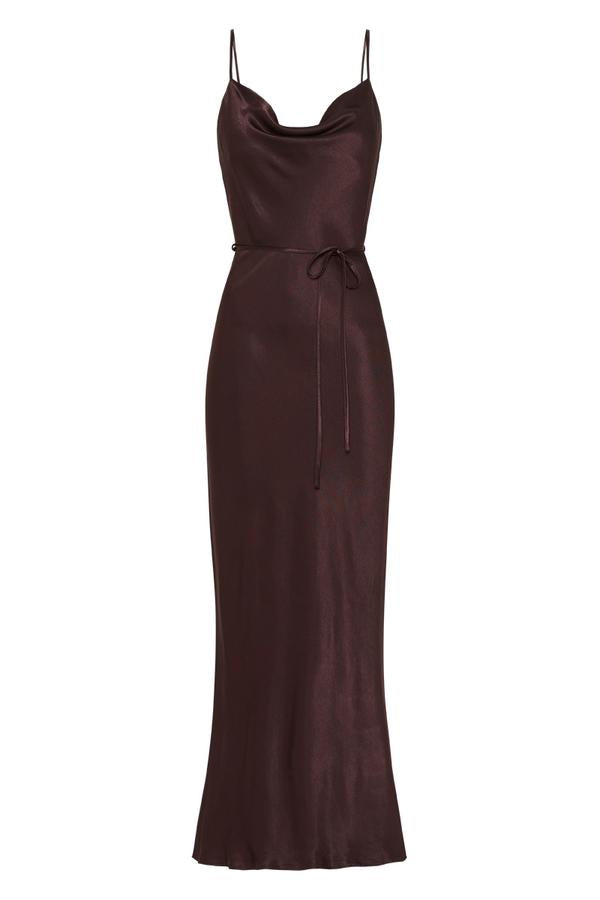 La Lune Bias Cowl Midi Dress Chocolate-Dresses-Shona Joy-UPTOWN LOCAL