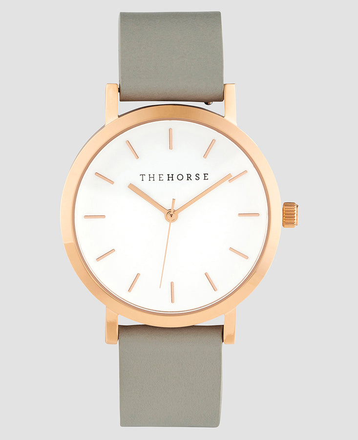 Original Mini - Rose Gold Case / White Dial / Grey Strap-Watch-The Horse-UPTOWN LOCAL