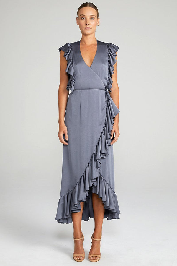 Anna Ruffle Wrap Midi Dress Charcoal