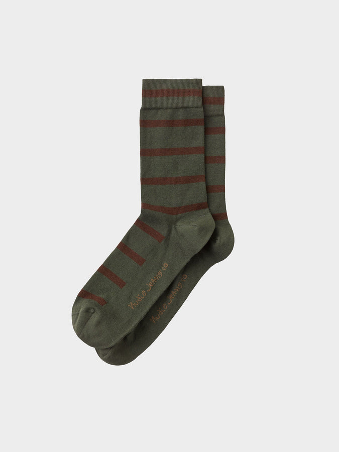 Olssen Tiger Stripes Socks - Olive-Socks-Nudie Jeans-UPTOWN LOCAL