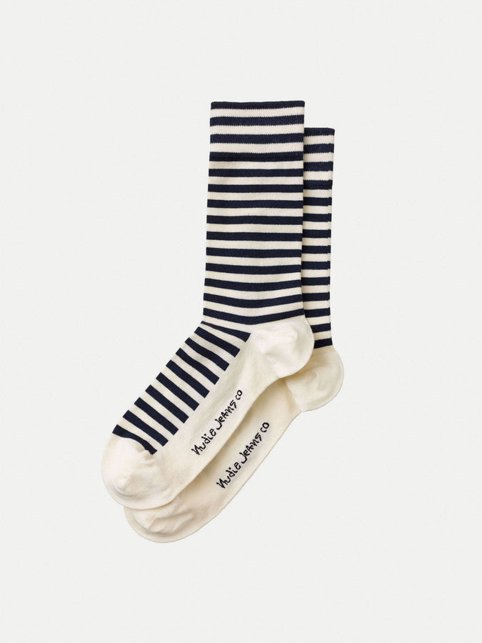 Olsson Socks - Breton Stripes Navy / Off White-Socks-Nudie Jeans-UPTOWN LOCAL