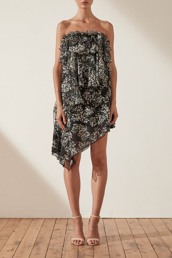 Dakota Asym Ruffle Mini Dress Black/Multi-Dresses-Shona Joy-UPTOWN LOCAL