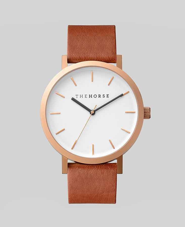 The Original - Brushed Rose / Walnut Leather-Watch-The Horse-UPTOWN LOCAL