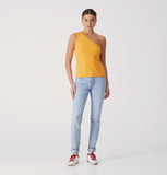 One Shoulder Rib Top - Saffron-Tops-ENA PELLY-6-UPTOWN LOCAL