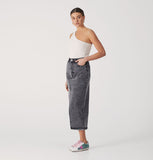 Boyfriend Denim Skirt - Acid Wash Black-Skirts-ENA PELLY-6-UPTOWN LOCAL