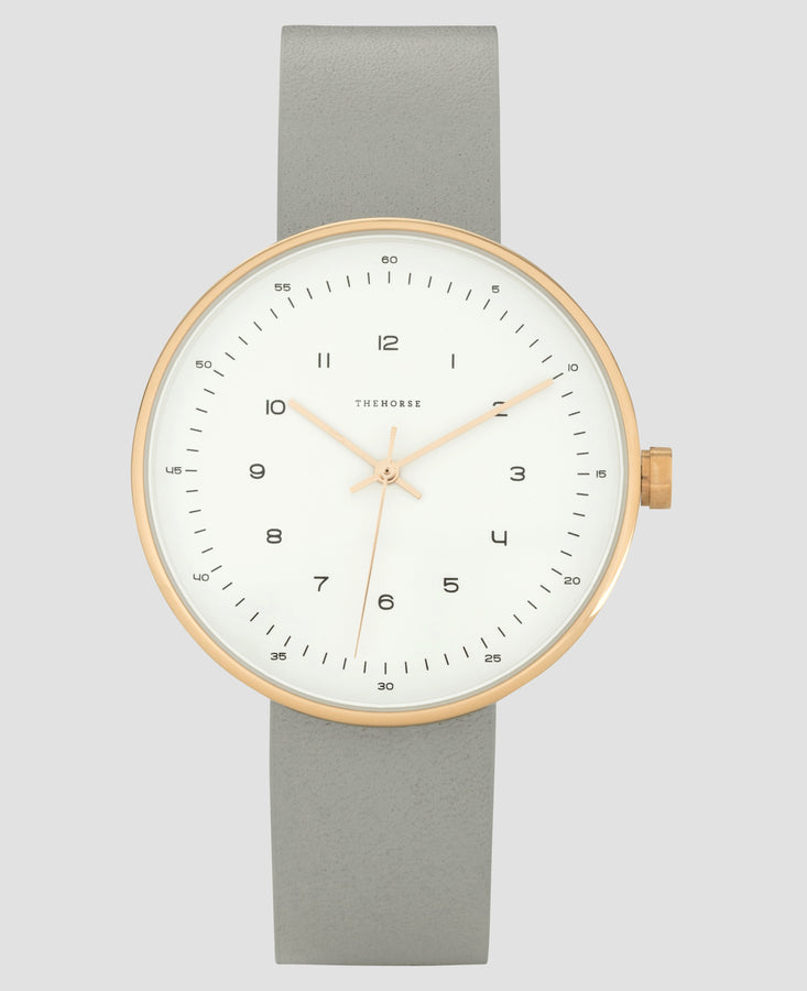 The Minimal - 40mm Polished Rose Gold / Grey
