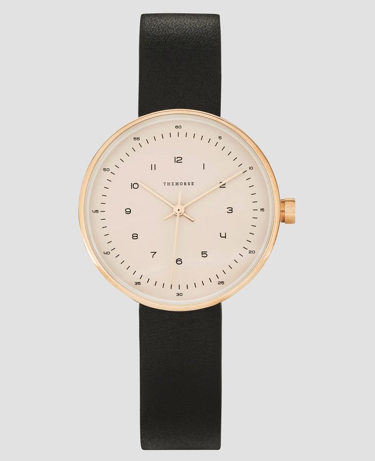 The Minimal - 34mm Polished Rose Gold / Black-Watch-The Horse-UPTOWN LOCAL