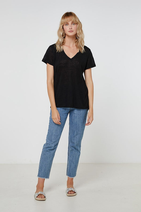 Linen V Neck Tee - Black-T-Shirts-Elka Collective-6-UPTOWN LOCAL