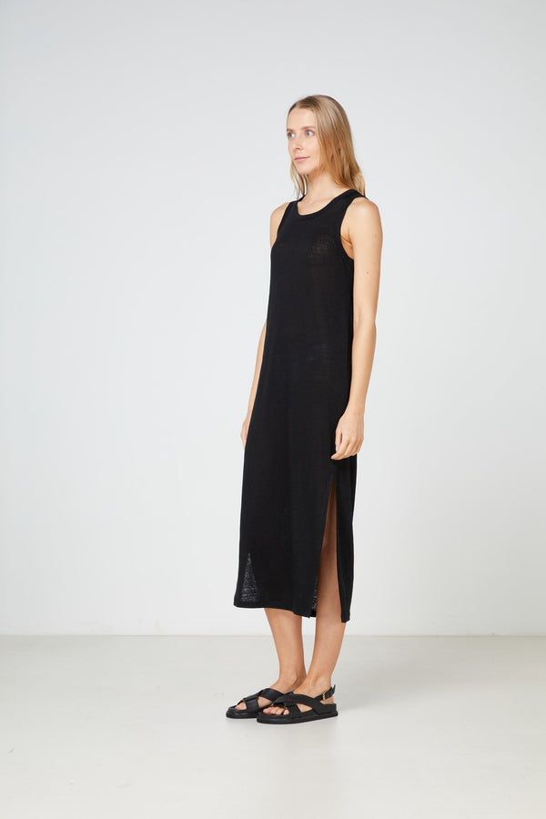 EC Linen Tank Dress 2.0 - Black-Dresses-Elka Collective-6-UPTOWN LOCAL