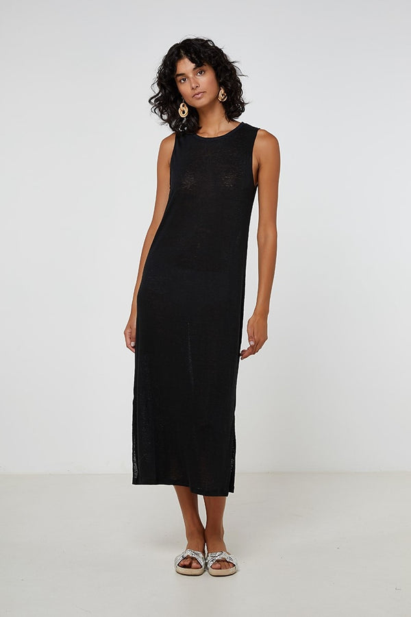Linen Tank Dress Black-Dresses-Elka Collective-6-UPTOWN LOCAL