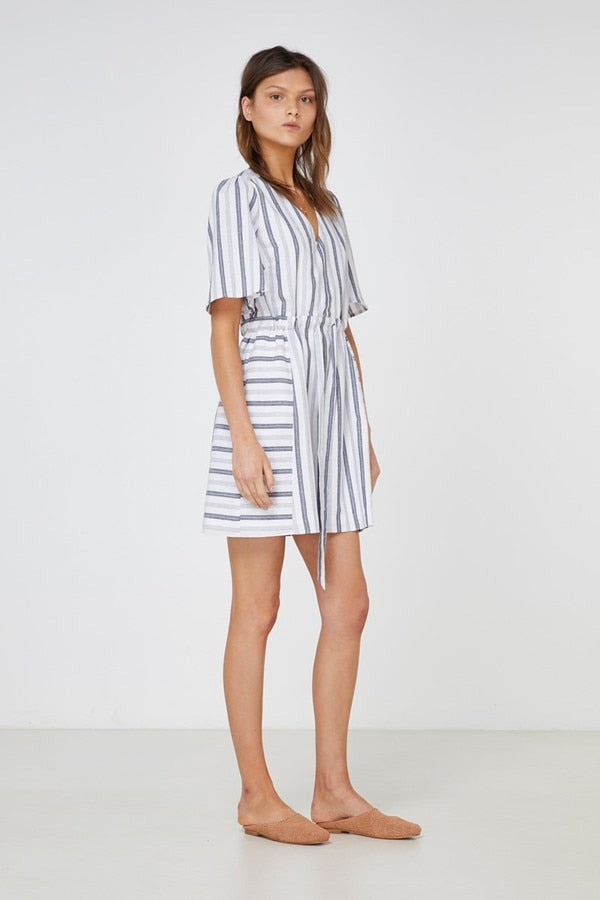 Greta Dress Washed Indigo Stripe-Dresses-Elka Collective-6-UPTOWN LOCAL