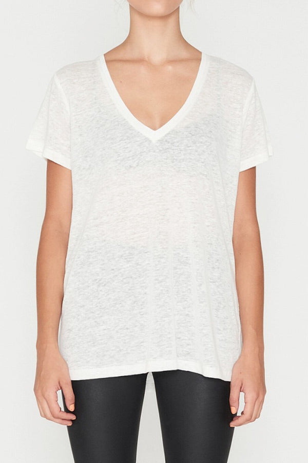 Linen V Neck Tee - White-T-Shirts-Elka Collective-6-UPTOWN LOCAL