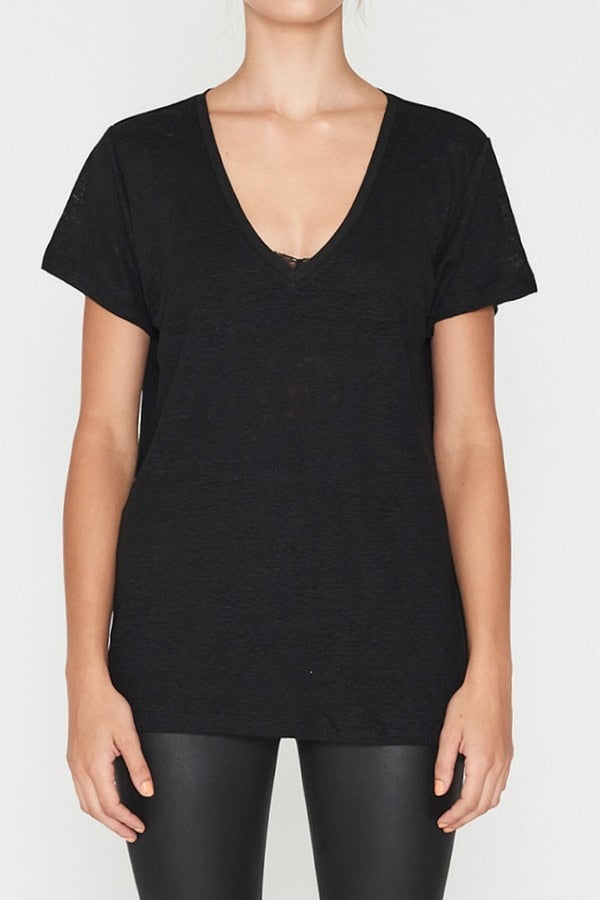 Linen V Neck Tee Black-T-Shirts-Elka Collective-UPTOWN LOCAL