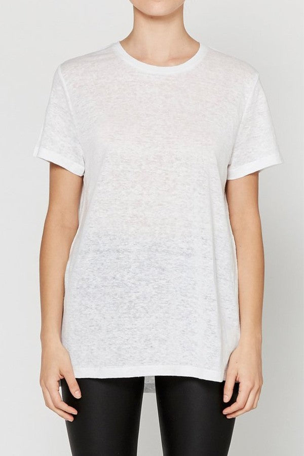Linen Crew Neck Tee White-T-Shirts-Elka Collective-UPTOWN LOCAL