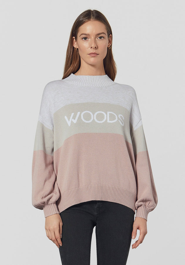 WOODS Intarsia Knit - Grey Marl / Pink Black-Knitwear-Viktoria and Woods-0-UPTOWN LOCAL