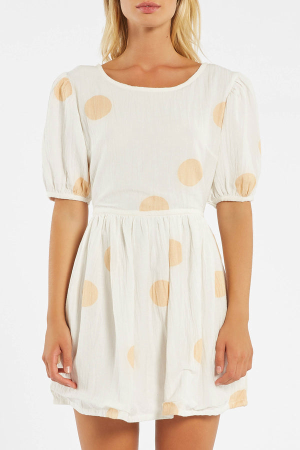Sol Dress - Off White / Tan Spot-UPTOWN LOCAL-6-UPTOWN LOCAL