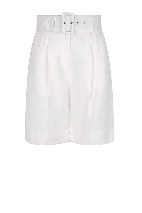 Gaia Bermuda Short w Belt Ivory-Shorts-Shona Joy-UPTOWN LOCAL